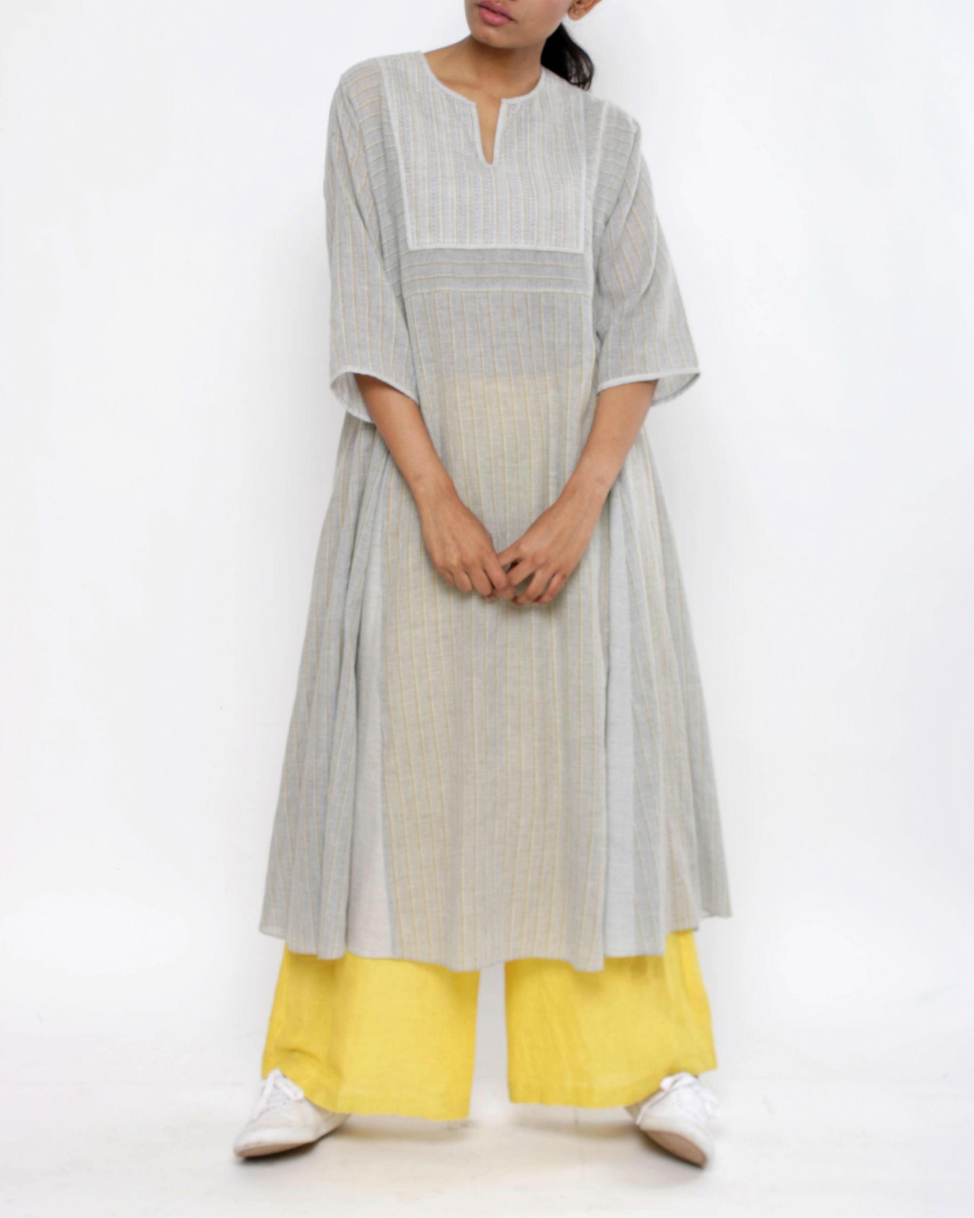 Grey striped kalidar tunic