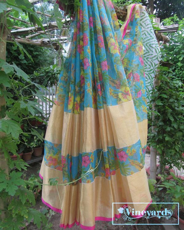 Blue garden fantasy saree