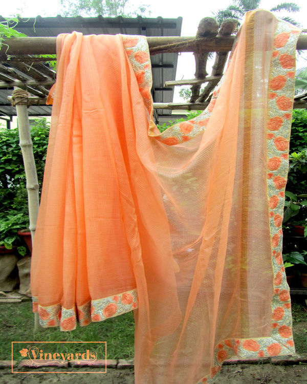 Peach annabella saree