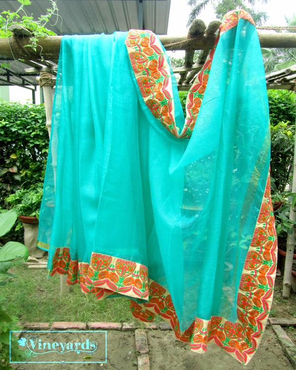 Turquoise tiara saree