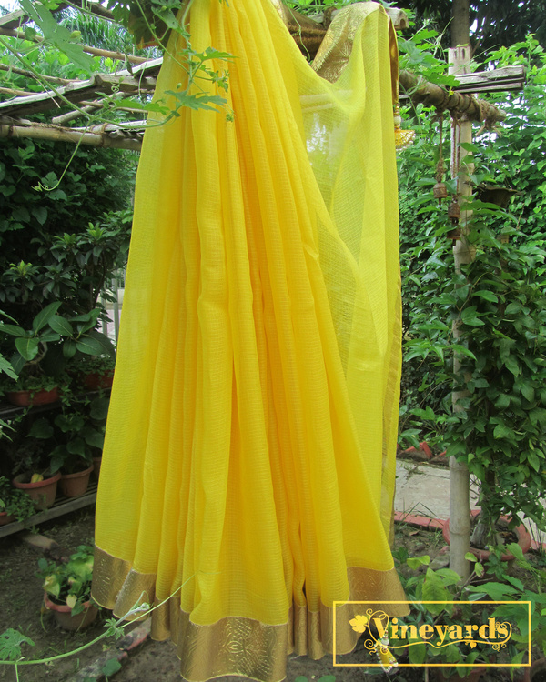 Yellow golden saree