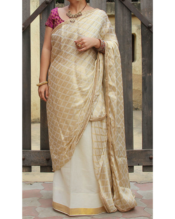 Golden white sarong saree
