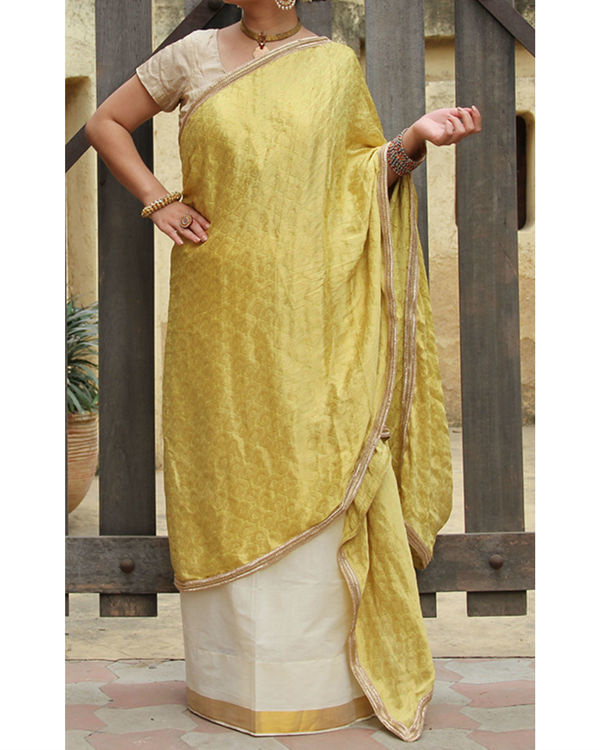 Yellow white sarong saree