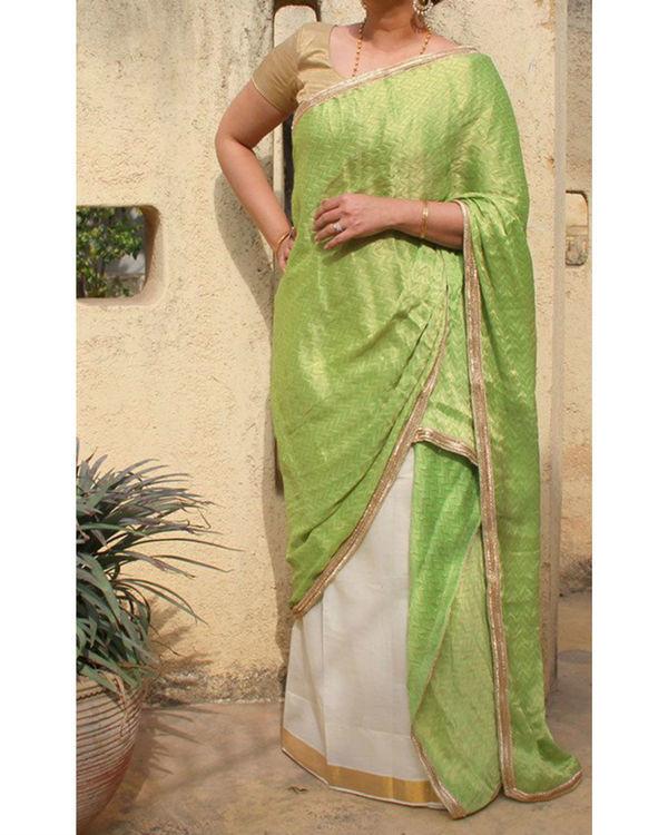 Green white sarong saree