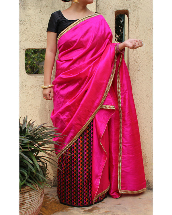 Magenta striped sarong saree