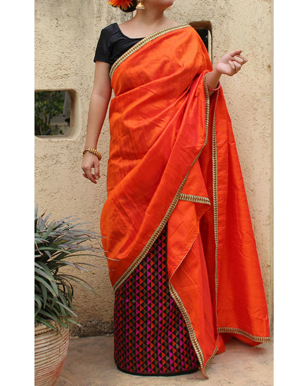 Orange striped sarong saree