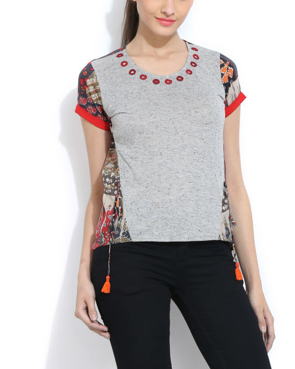 Melange top with printed back