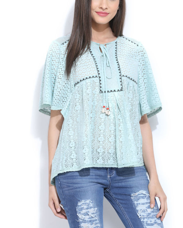 Mint lace peasent top
