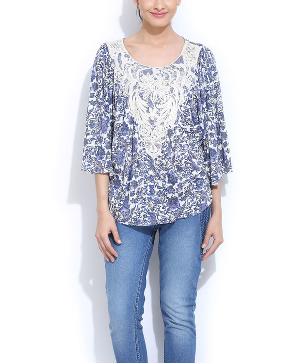 Blue embroidered cape top