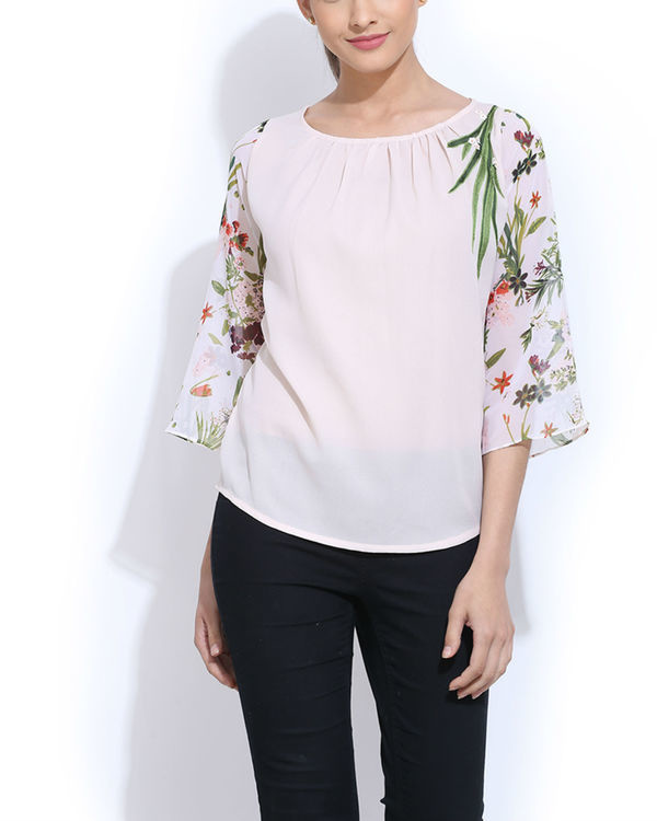 White embroidered top with printed sleeves