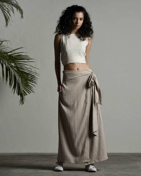 Safari linen wrap skirt