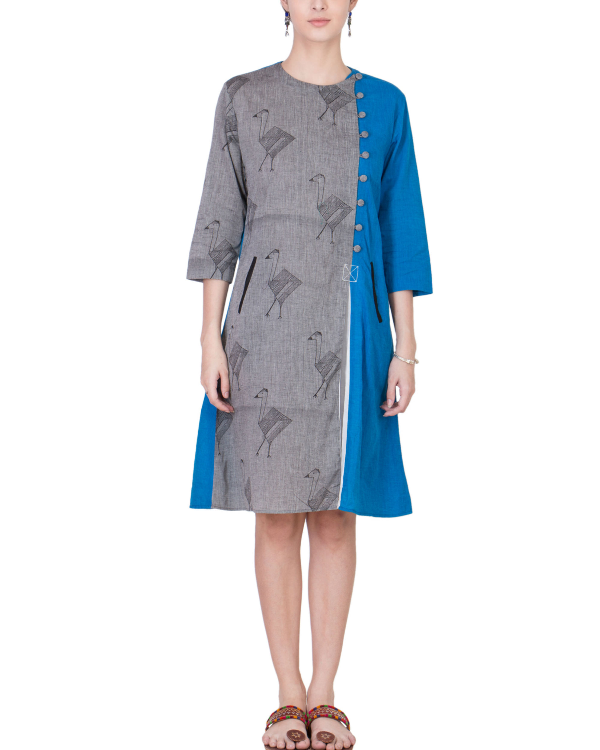 Grey and blue assymetrical tunic