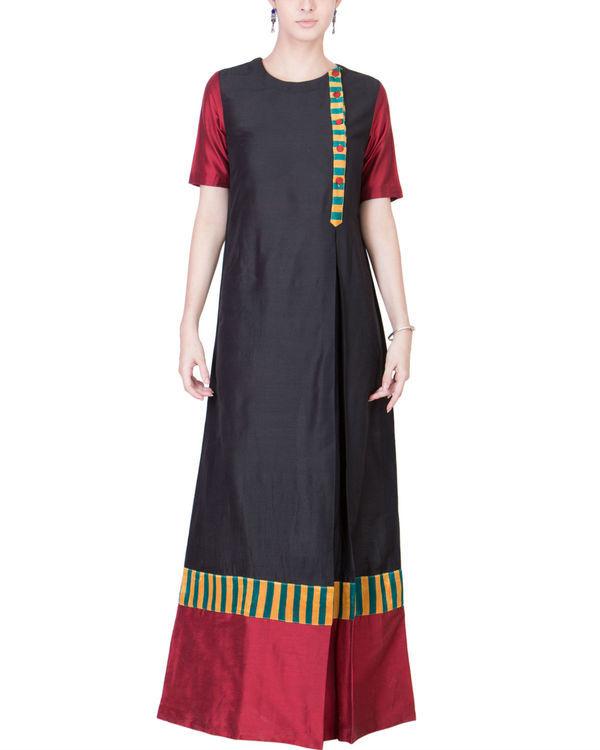 Black and maroon cotton silk maxi