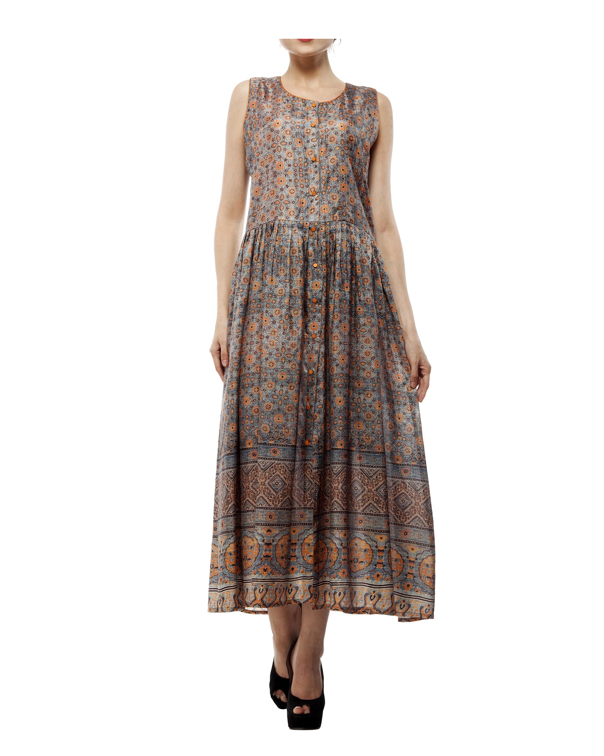 Ajrakh prin sleeve less long dress