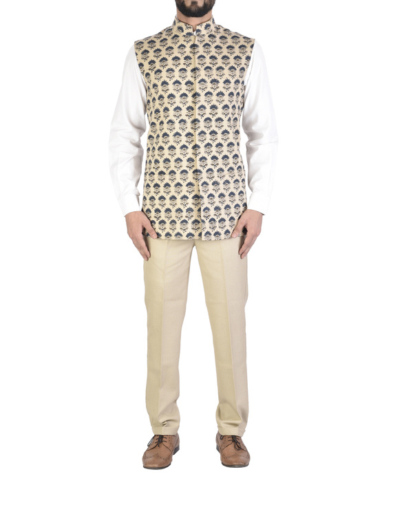 Beige cotton ajrakh pattern jacket
