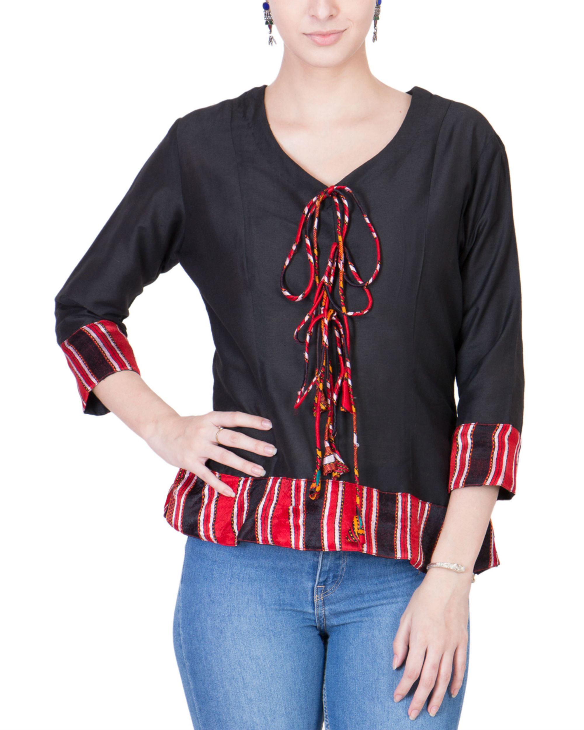 Black cotton silk top