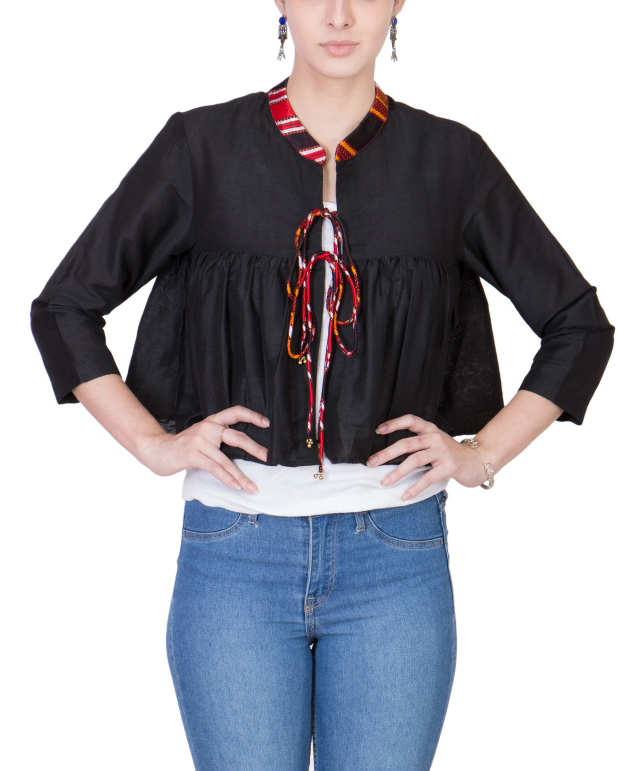 Black cotton silk cape