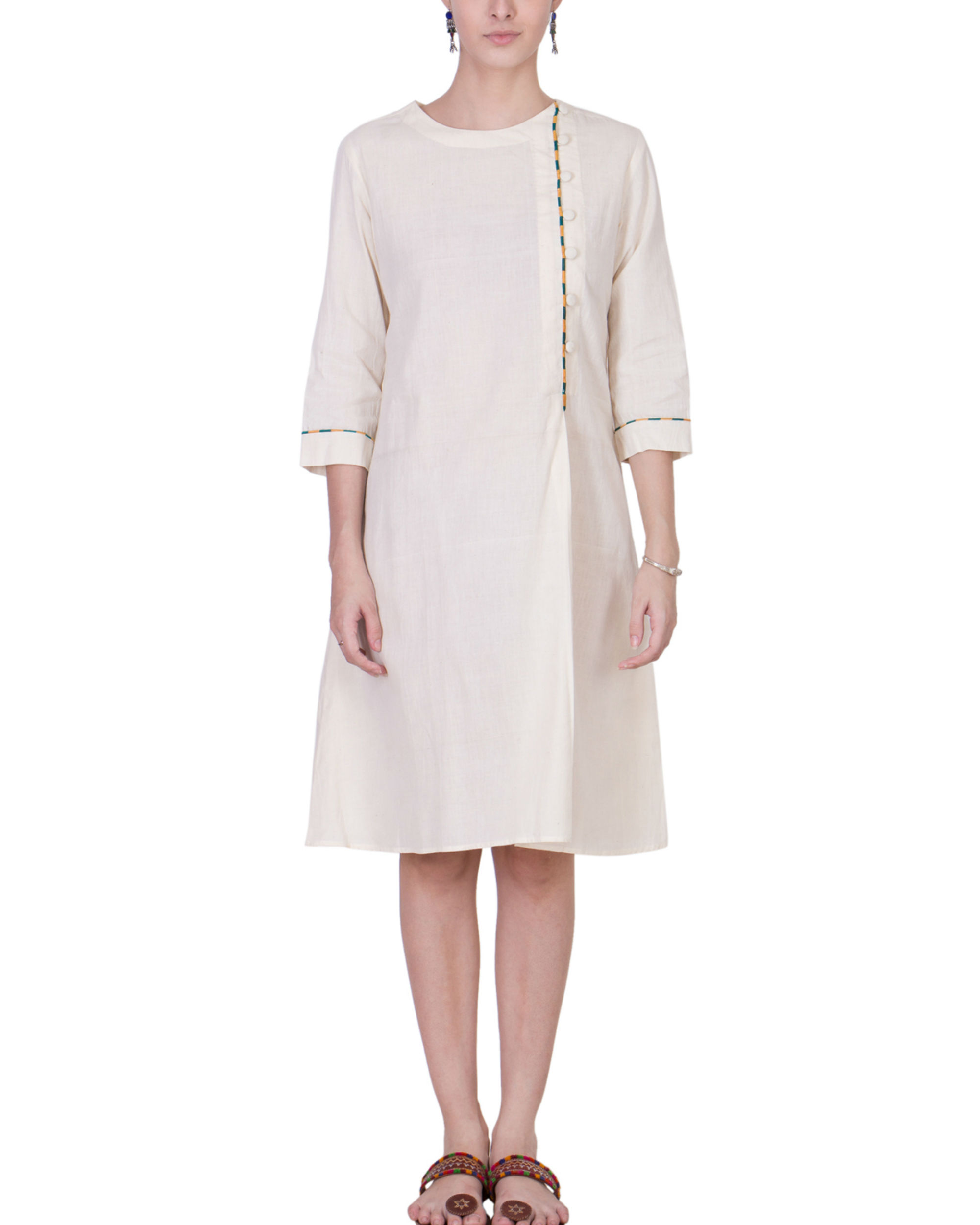 Ecru muslin assymetric dress