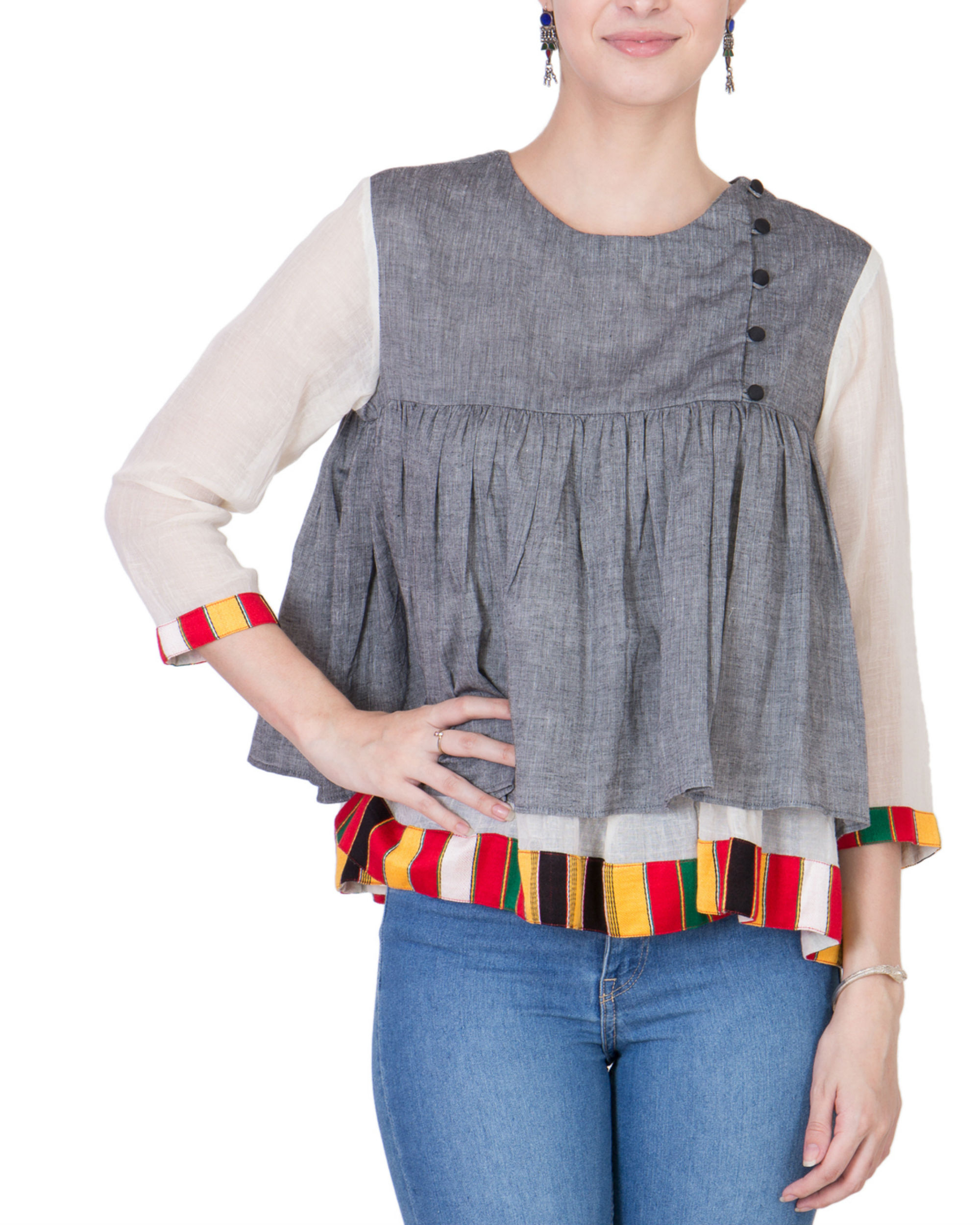 Grey mangalgiri cotton top