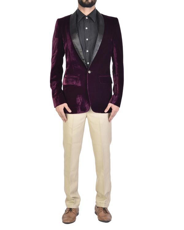 Violet cotton shawl collar jacket