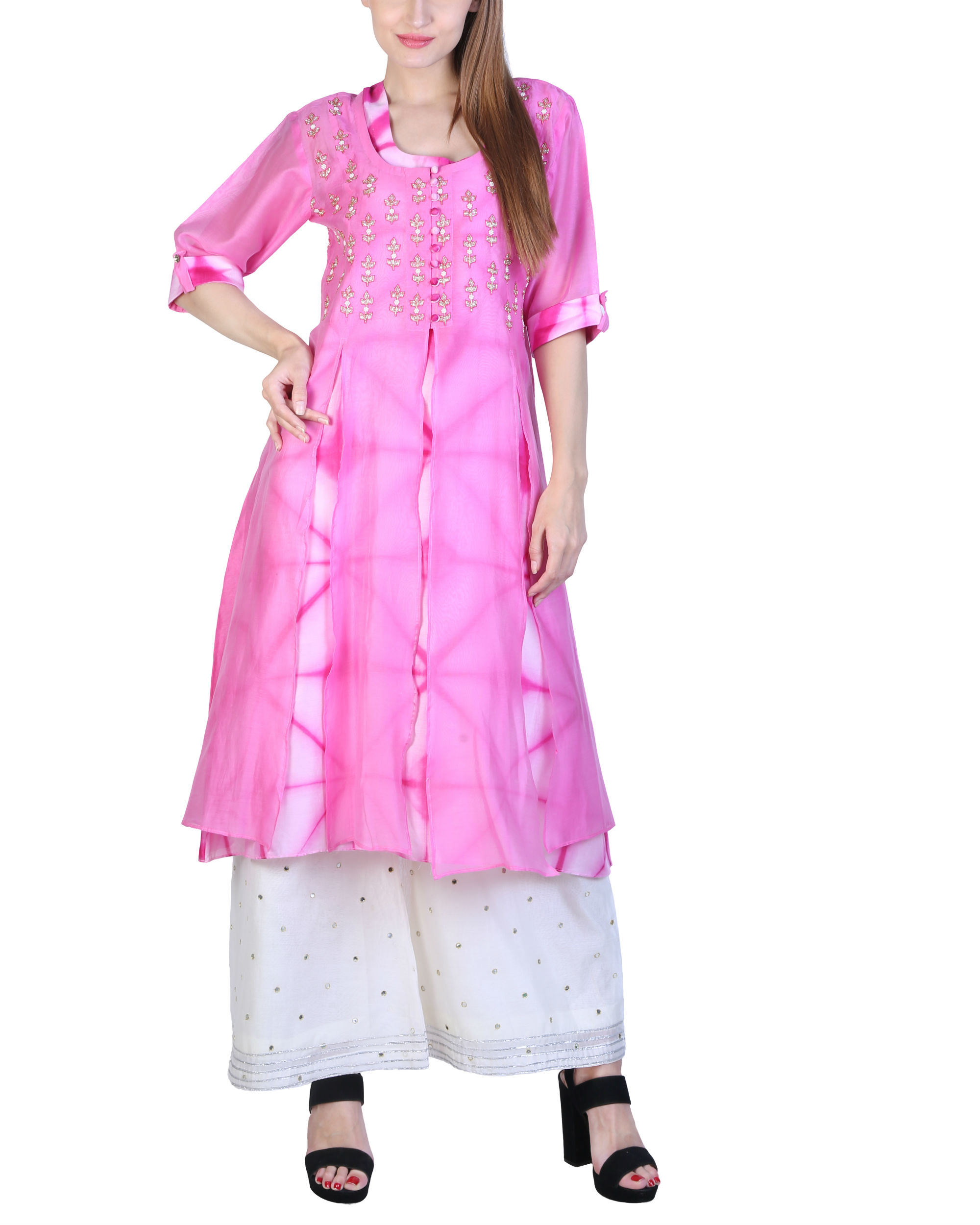Set of pink double layered tunic with palazzo