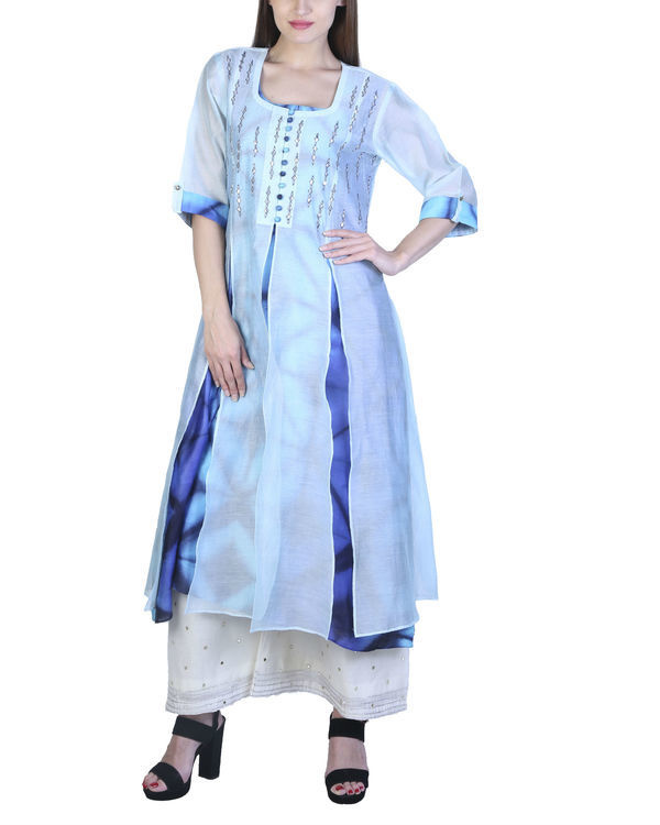 Set of jade blue double layered tunic with palazzo
