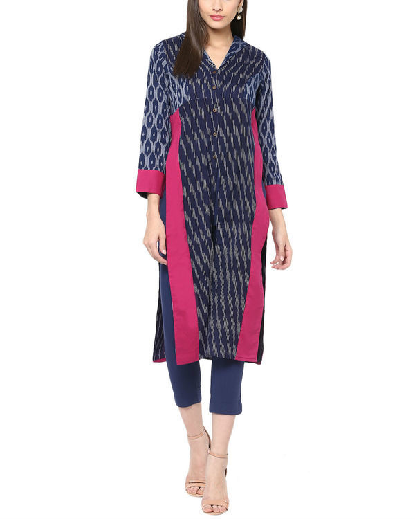 Blue ikat kurta with front slit