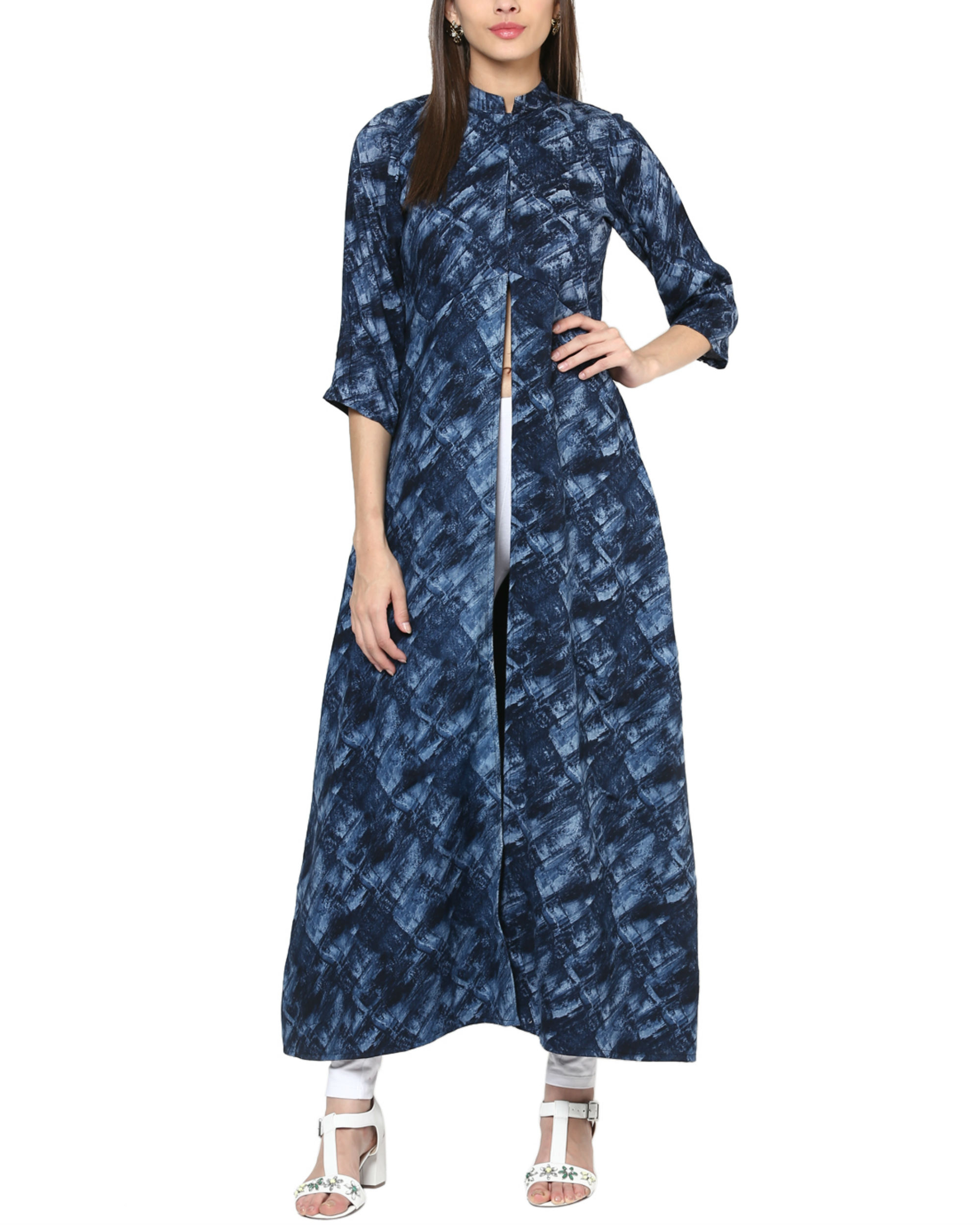 Blue cape with high slit