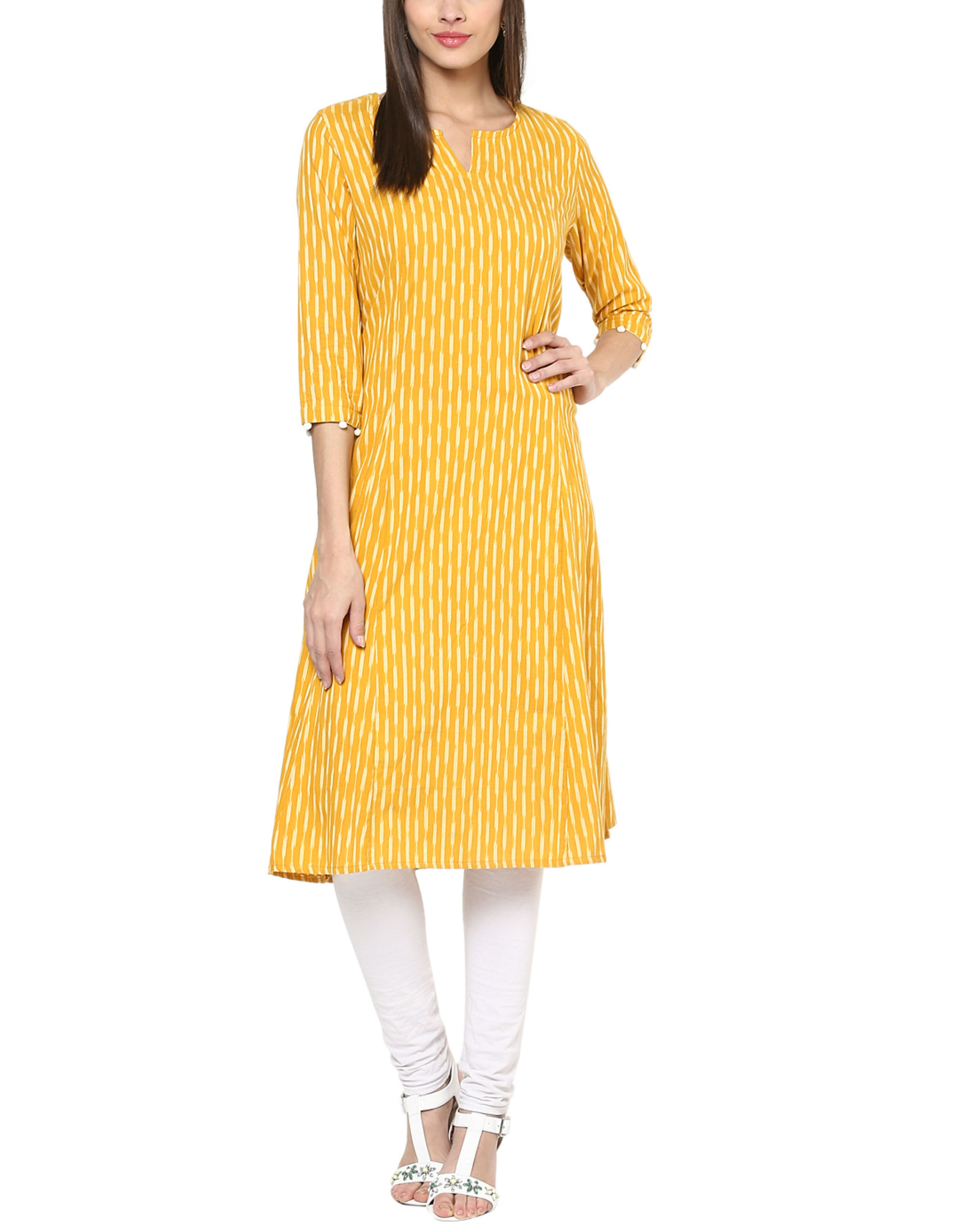 Yellow ikat kurta
