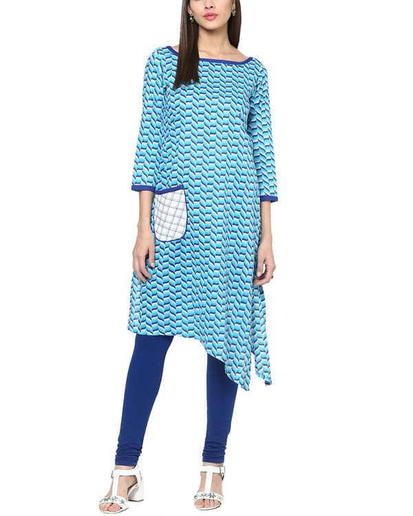 Blue tessellated kurta