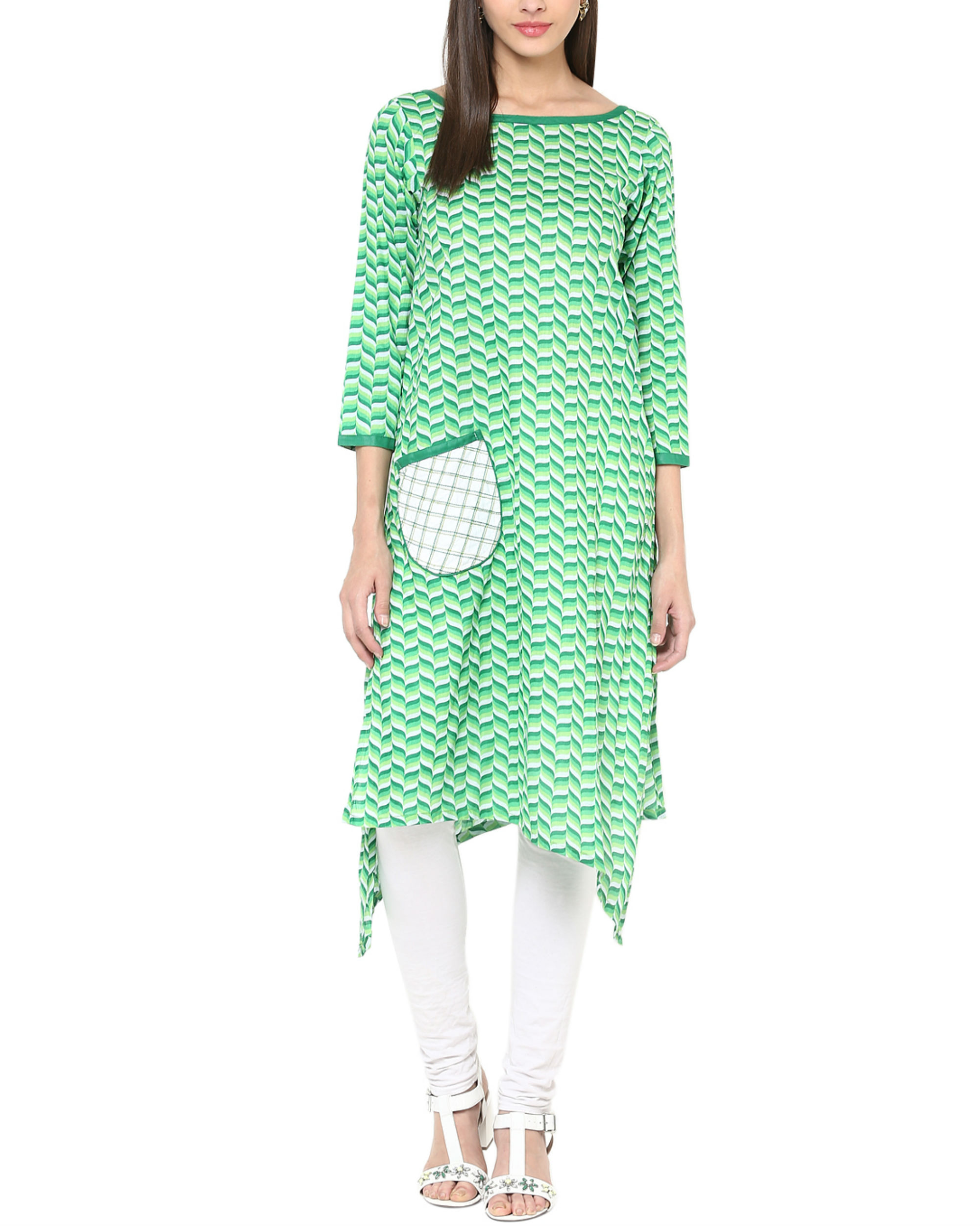 Green tessellated kurta