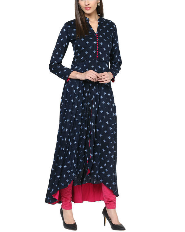 Blue high low kurta