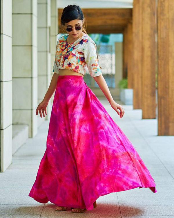 Pink floral ghaghra set