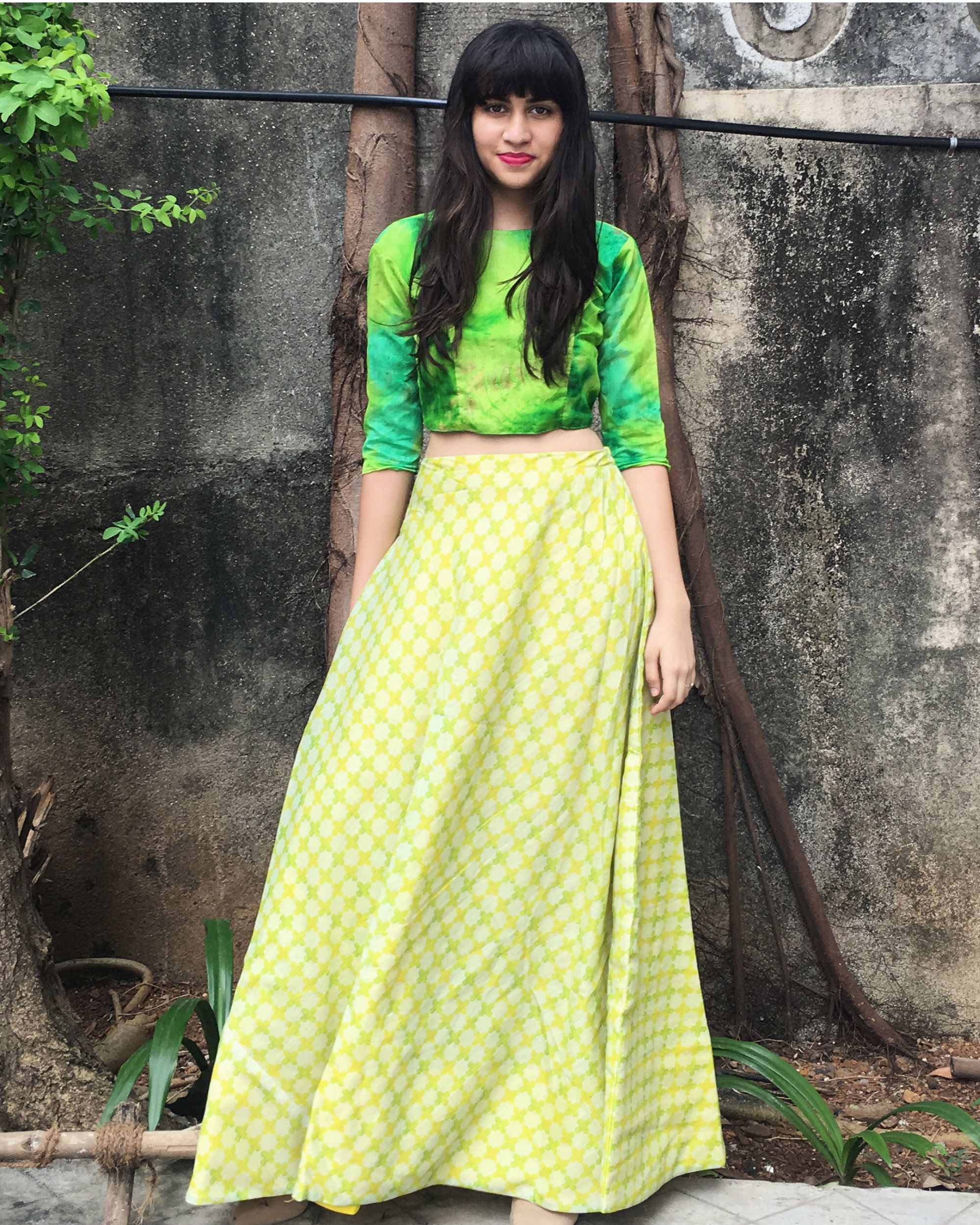 Green checkered ghaghra set