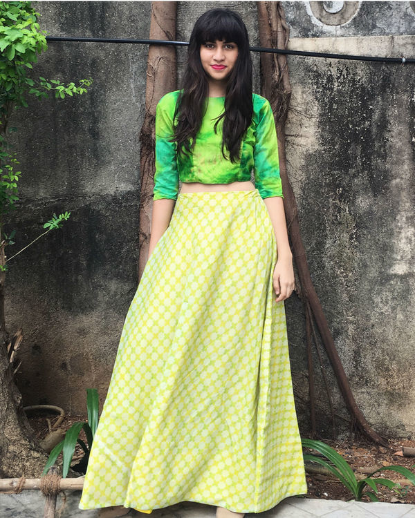 Green checkered ghaghra set