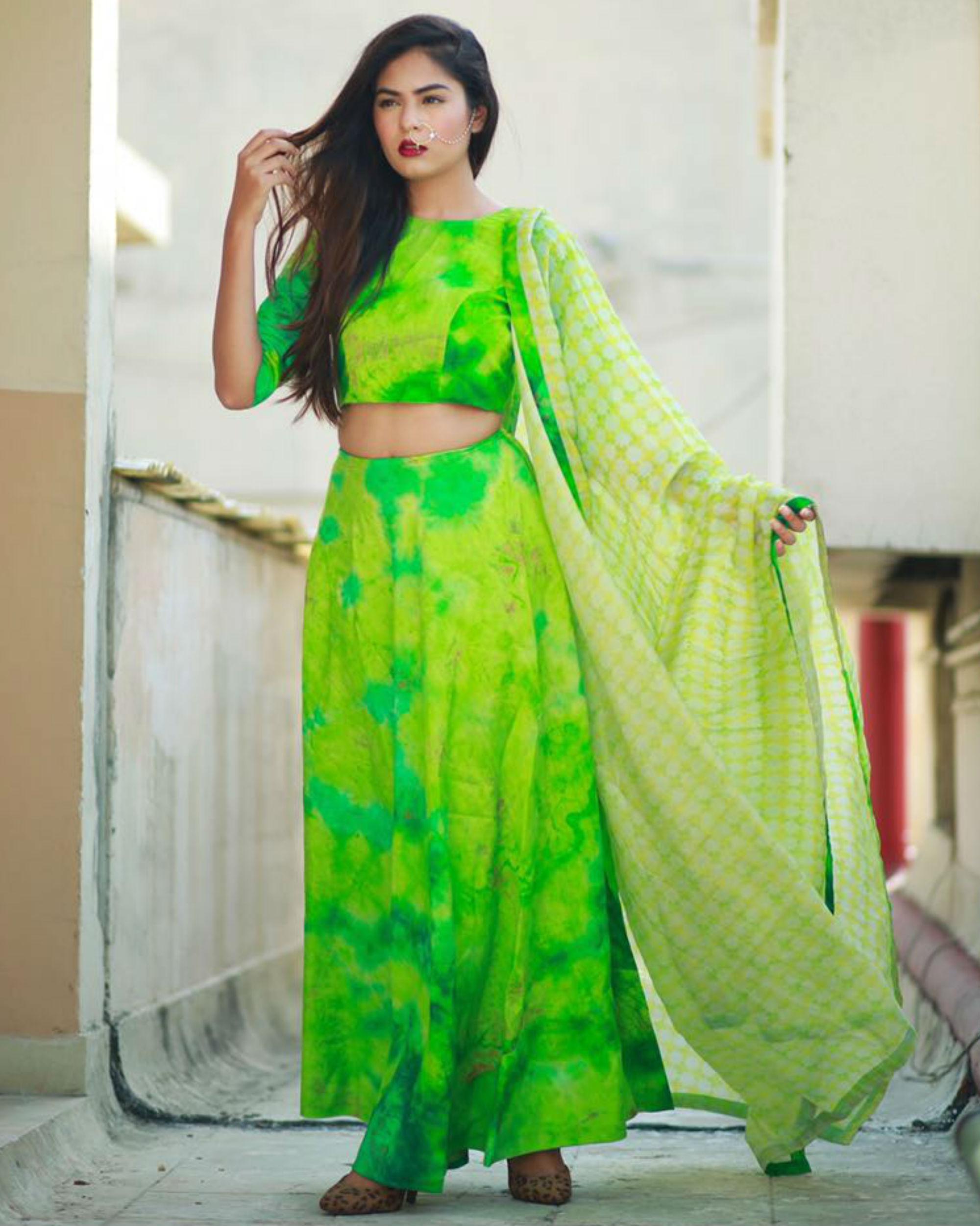 Green ghaghra set with dupatta