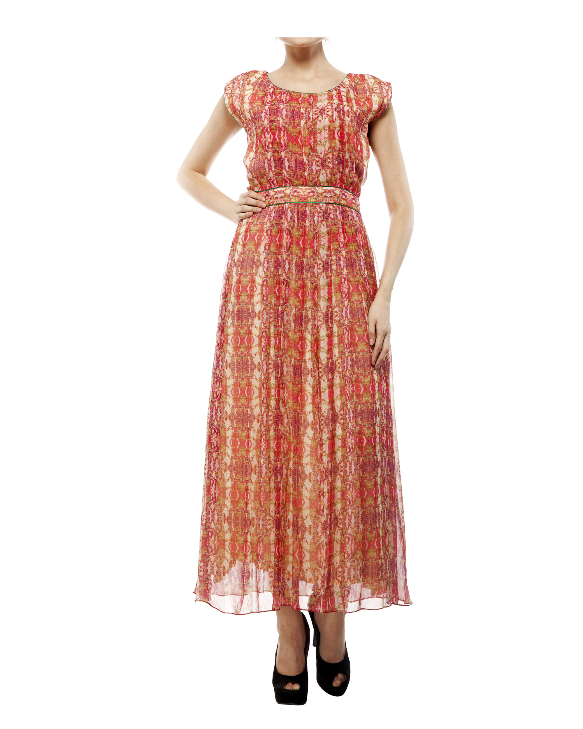 Digital print  shantoon long dress