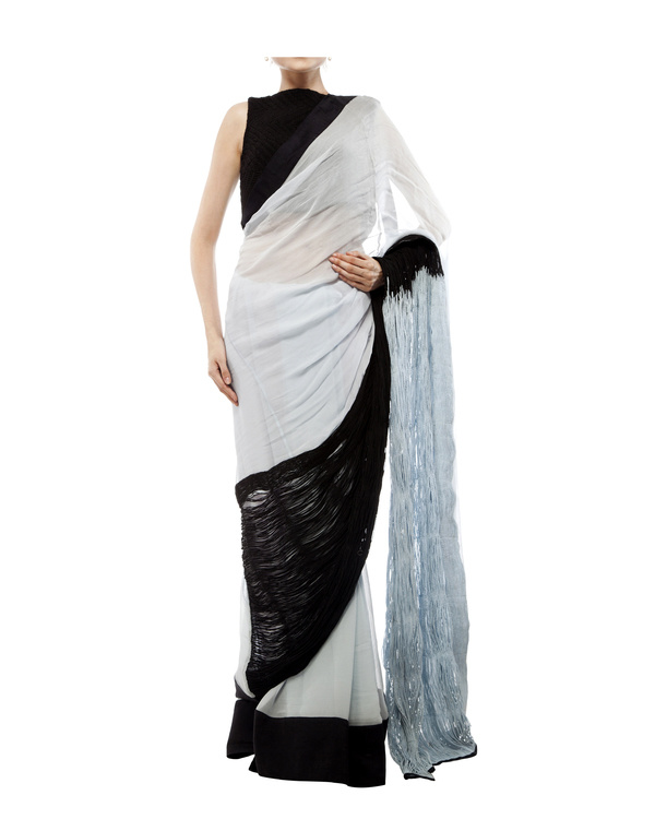 Black & blue chiffon cord saree