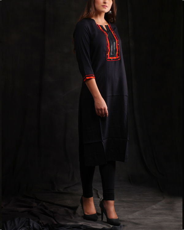 Black rayon Embellished kurta
