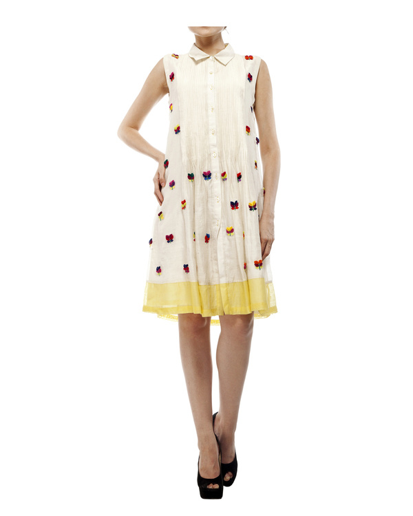 3d floral applique shirt dress