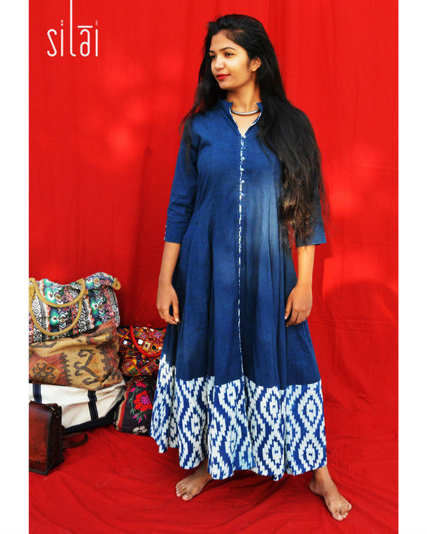Indigo kalidaar with printed border