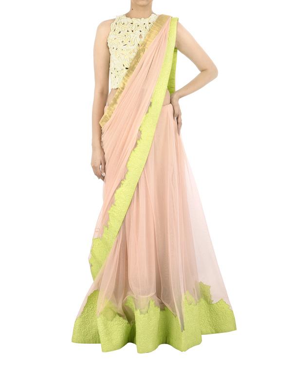 Pink net sari