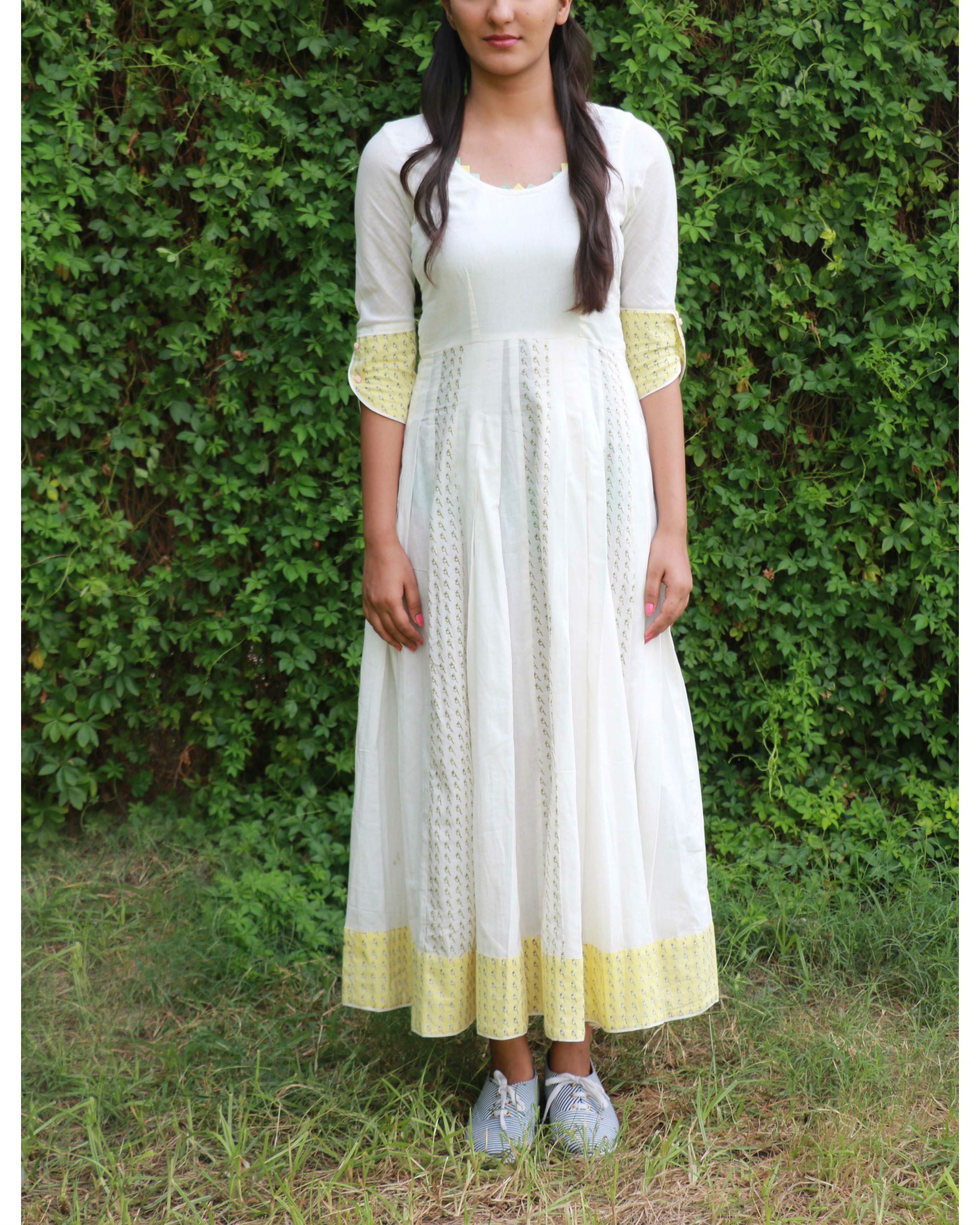 White yellow summer anarkali