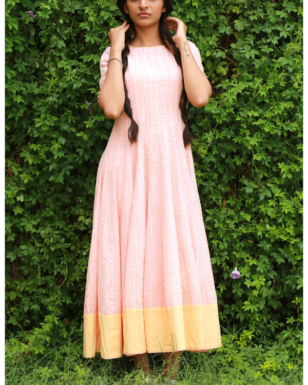 Peach yellow anarkali