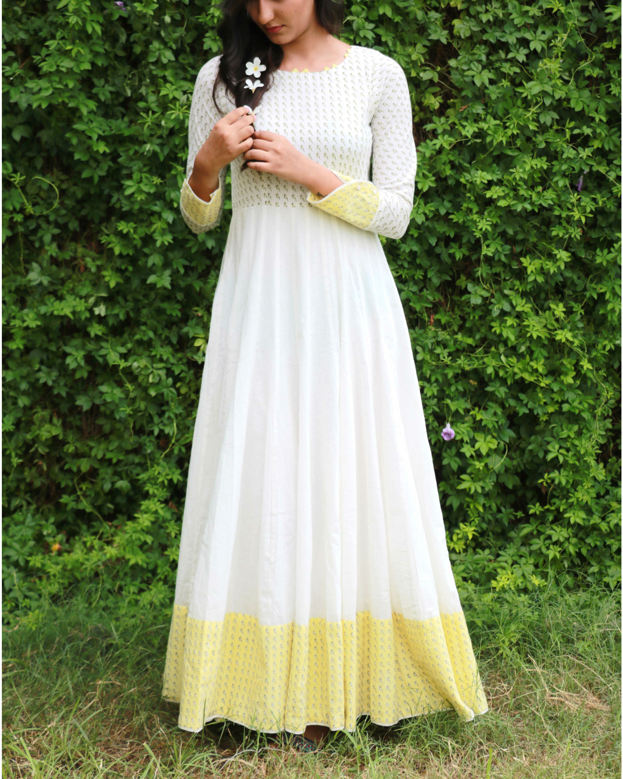 White flared anarkali