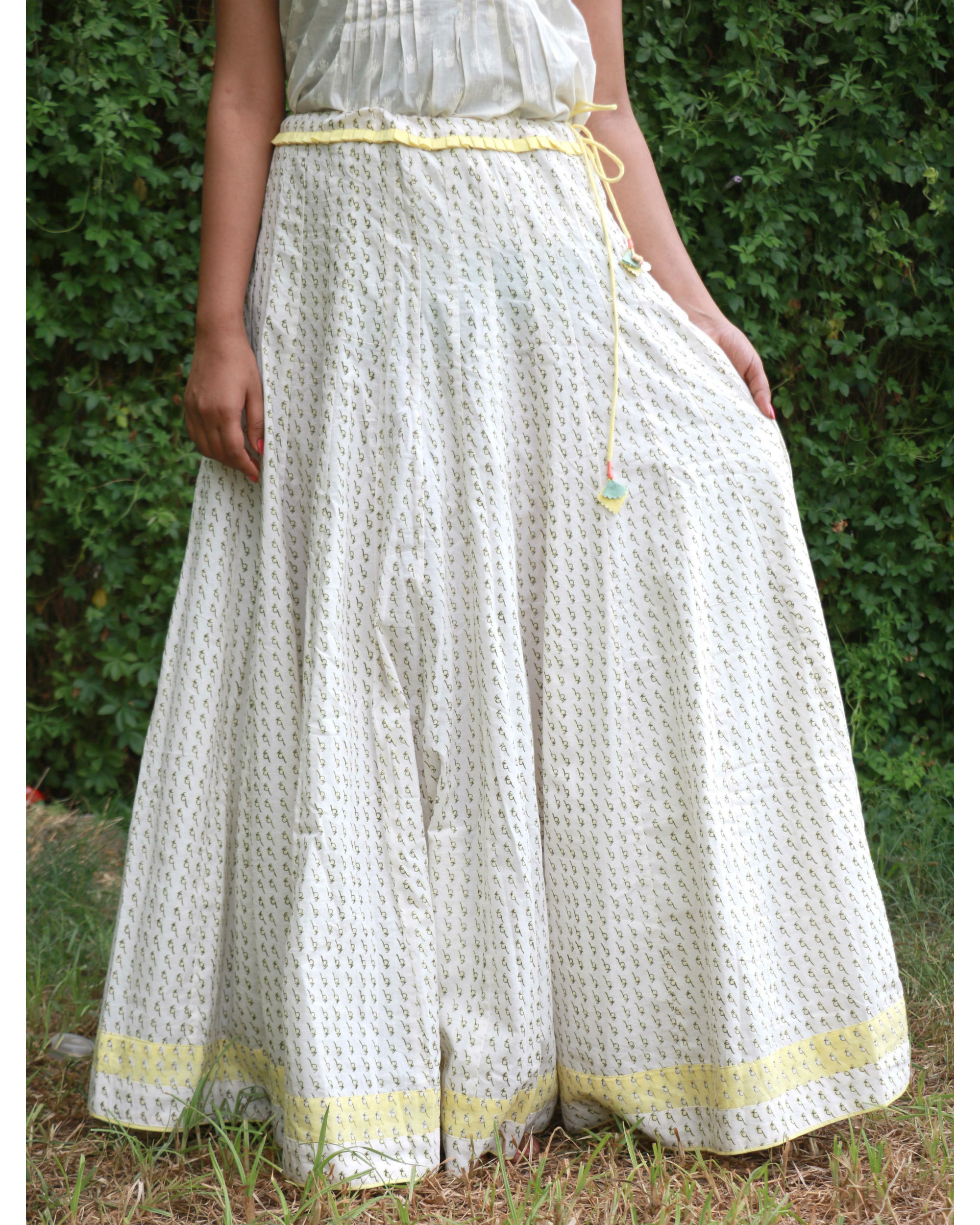 White yellow summer skirt