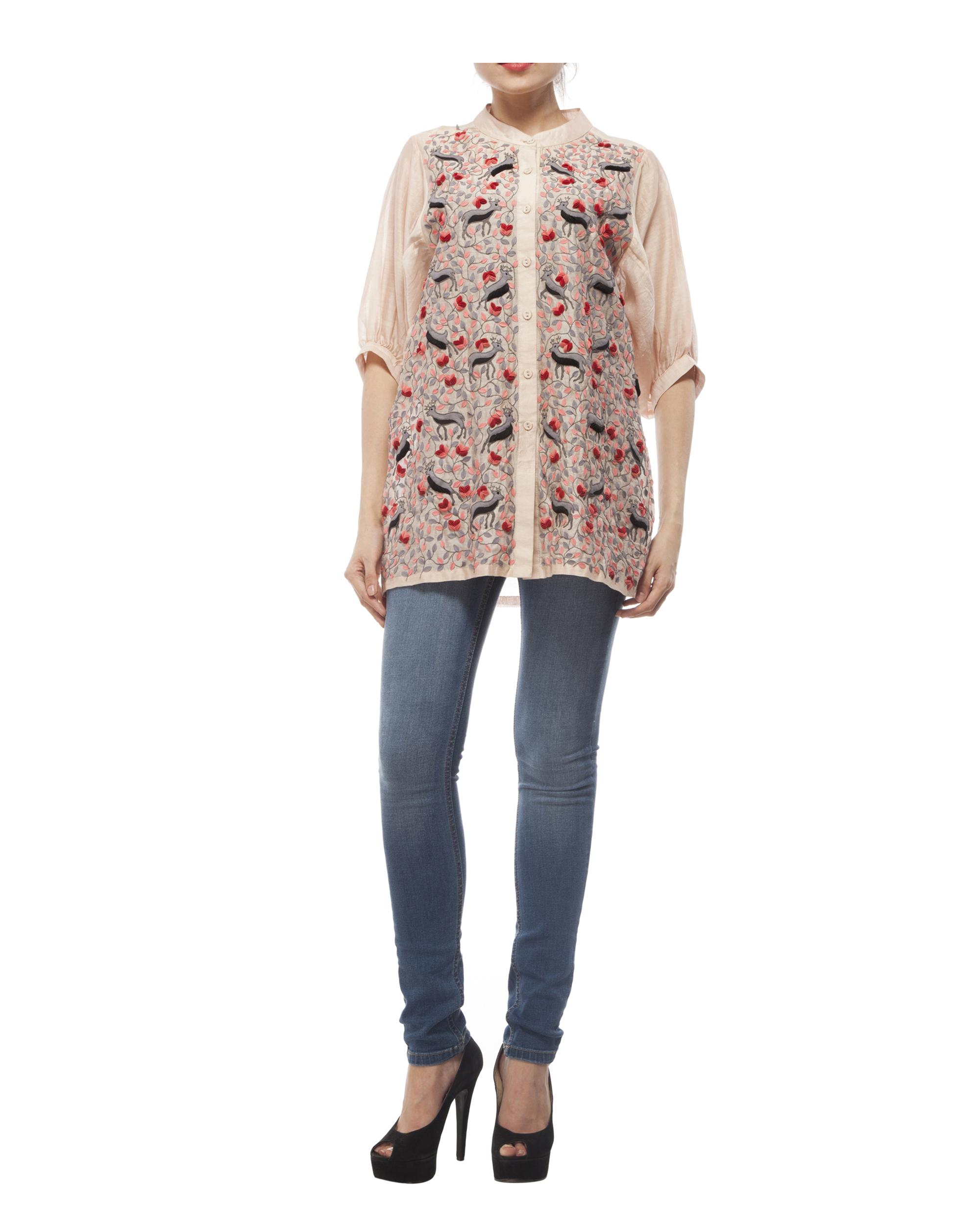 Cotton silk applique shirt