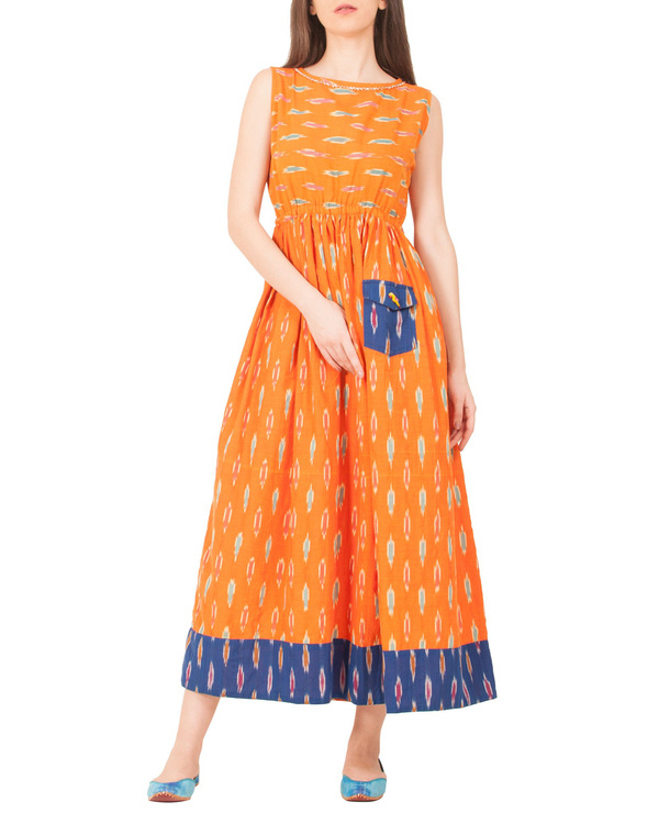 Tangerine ikat dress