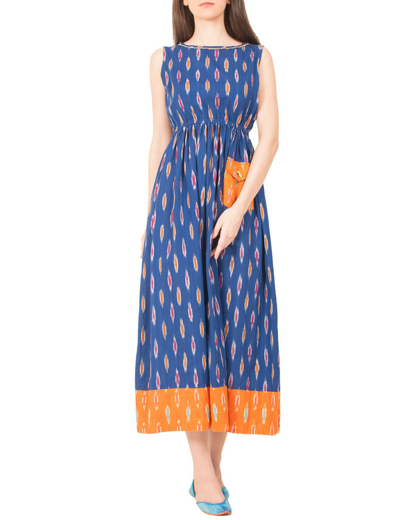 Indigo ikat dress