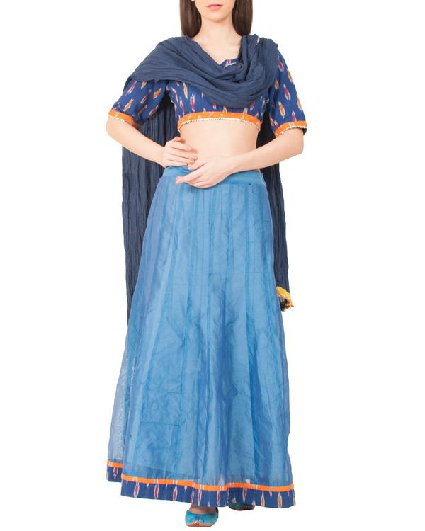 Peacock blue skirt set